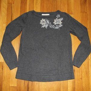 Loft Embroidered Cotton Crew Neck Sweater S